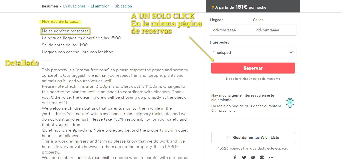 Usabilidad de las reservas de Airbnb