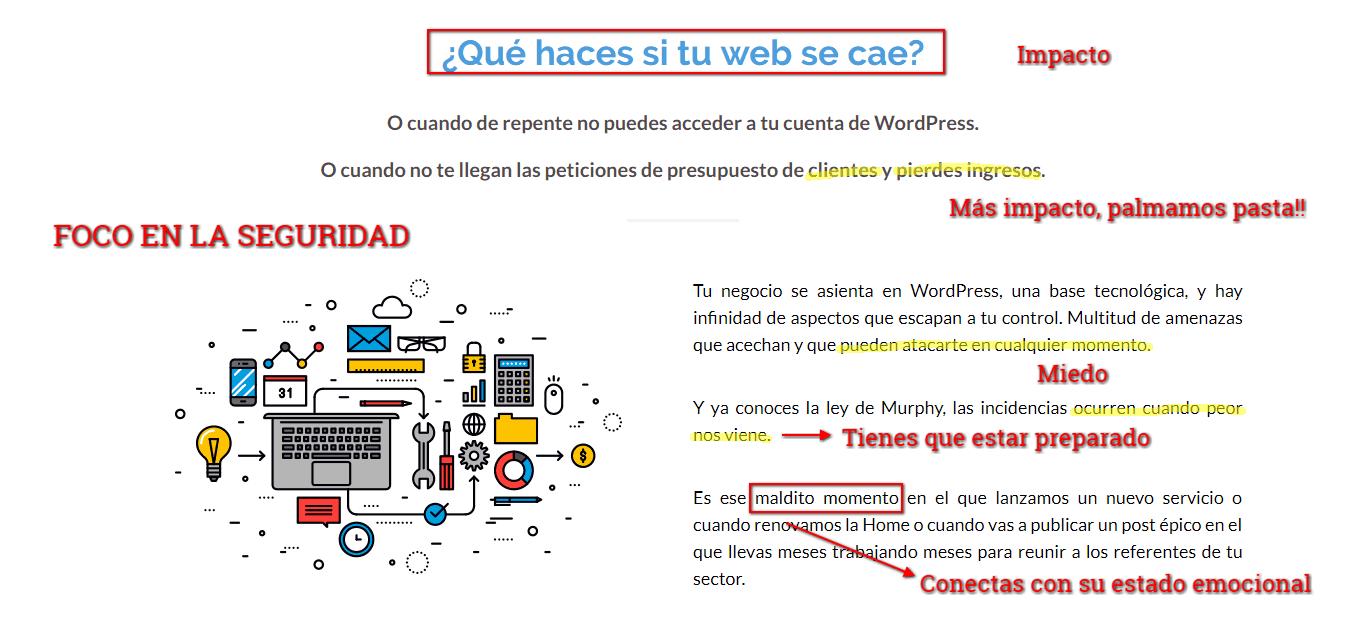 Ejemplo de beneficios en la web