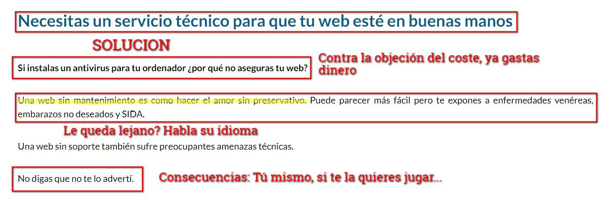ejemplo de solución de copywriting