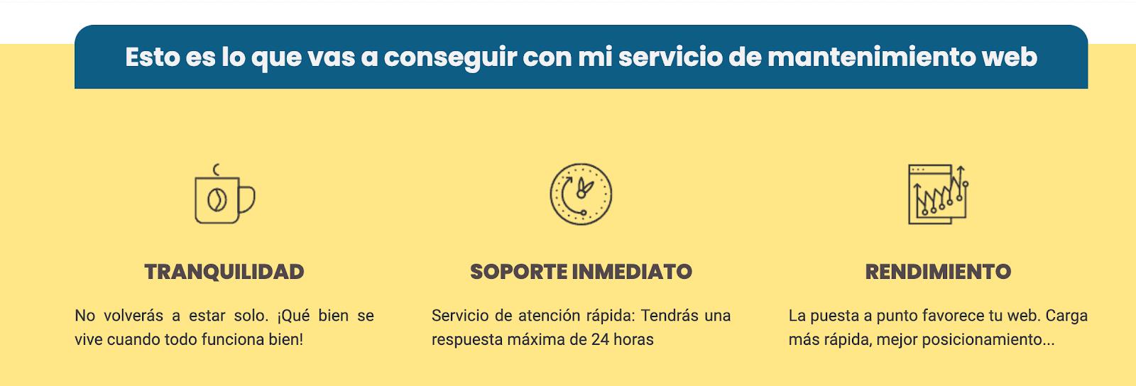 Ejemplo de la sección de servicios en una página de Ventas